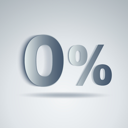 trade off: Vector of Zero Percent on white background