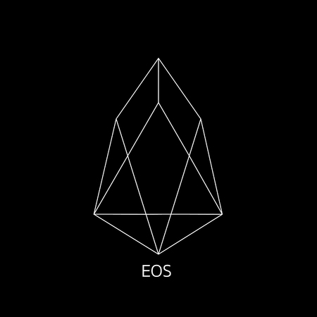 Vector illustration crypto icon on  background. EOS is a new blockchain platform of the crypto currency on the exchange. Digital currency Foto de archivo - 101031758