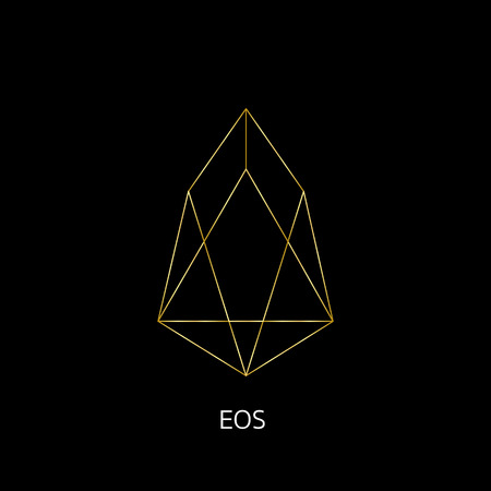 Vector illustration crypto icon on background. EOS is a new blockchain platform of the crypto currency on the exchange. Digital currency Foto de archivo - 101031764