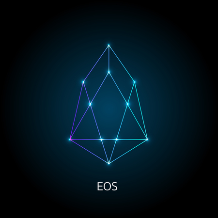 Vector illustration crypto icon on  background. EOS is a new blockchain platform of the crypto currency on the exchange. Digital currency