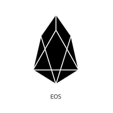 Vector illustration crypto icon on  background. EOS is a new blockchain platform of the crypto currency on the exchange. Digital currency Foto de archivo - 101031762