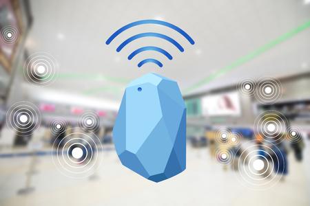Dispositivo beacon radar per la casa e l'ufficio. Utilizzare per tutte le situazioni. con la grafica del segnale di connessione alla rete e sfocatura dello sfondo in aeroporto Archivio Fotografico