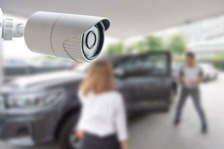 CCTV Security Camera protect your car concept.