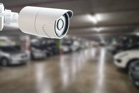 CCTV Security Camera protect your car concept. Security surveillance