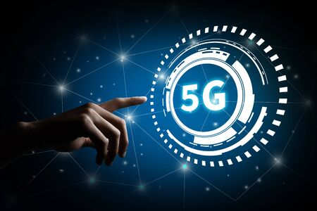5G network digital and internet of things. 5G network wireless system Concept. Stock fotó