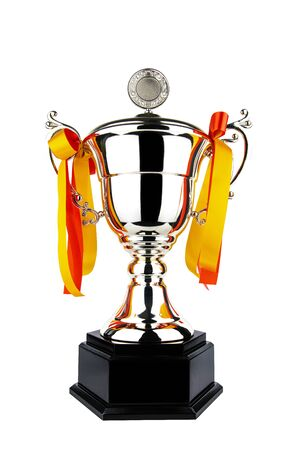 Champion throphy for congratulate winner on white background. Stock fotó