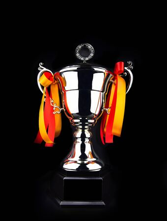 Champion throphy for congratulate winner on black background.