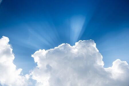 Beautiful clouds and bluesky in natural light with sun ray, backgrounds