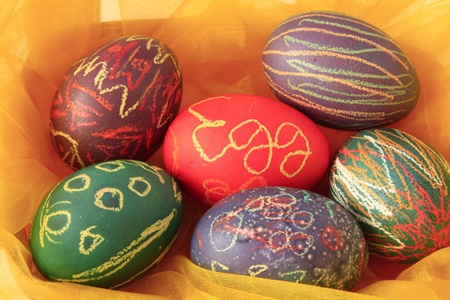 coloured Easter eggs for decoration photo