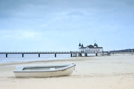 fishing boat on the beach of the island of usedom, germany