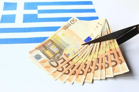 depts: Symbol photo: depts cut for Greece Stock Photo