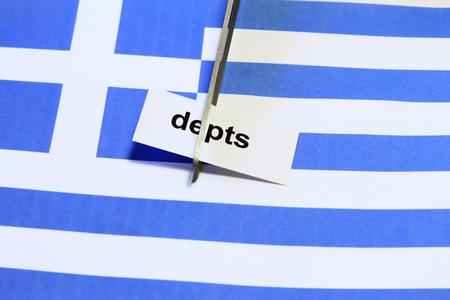 depts: Symbol photo: depts cut for Greece Stock Photo