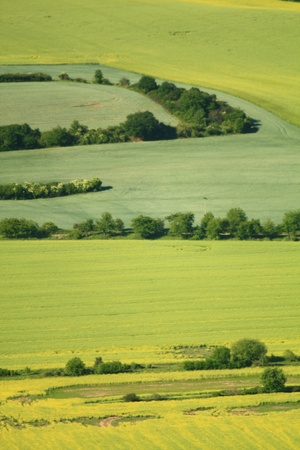 arable land: aerial view of arable land  Stock Photo
