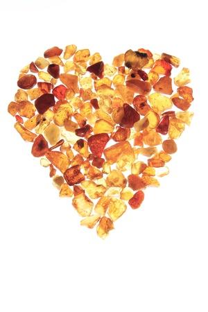 amber coloured: amber heart