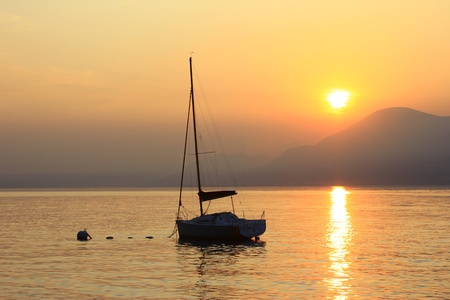 sundown at the lake Garda, Italy photo
