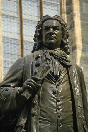 Monument for Johann Sebastian Bach in front of the  Thomas Church   Thomaskirche , Leipzig, Saxony, Gernay
