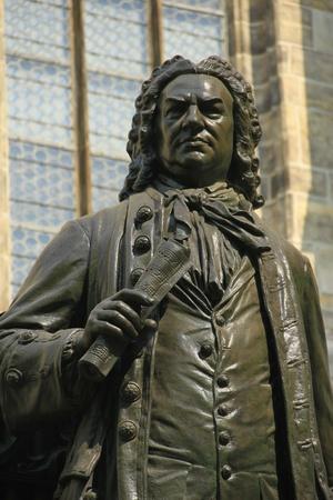 Monument for Johann Sebastian Bach in front of the  Thomas Church   Thomaskirche , Leipzig, Saxony, Gernay