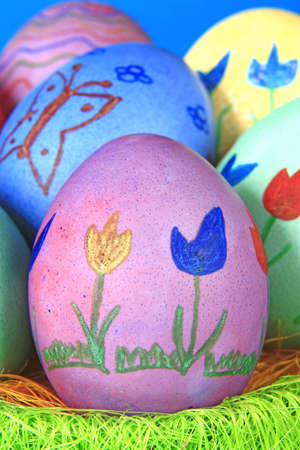 colorfully: colorfully painted Easter eggs