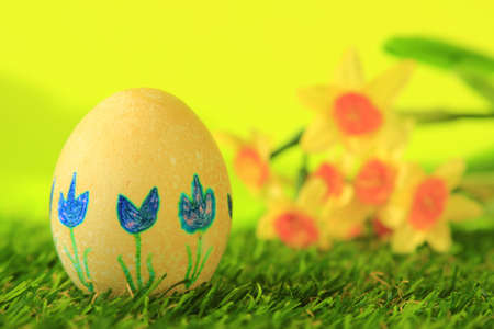 Yellow Easter egg, decorated with blue tulips before blurred daffodils Stock Photo - 12802833