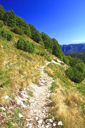 Mountain path on Monte Baldo, Lake Garda, Italy Stock Photo