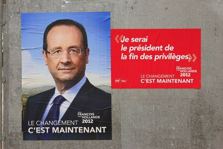 campaign promises: election poster 2012 from Francois Hollande, France Editorial