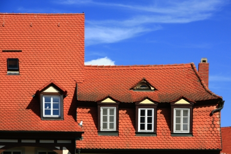decorative tile roofs in the old fishing district, now called Little Venice in Bamberg, Bavaria, Germany Stock Photo