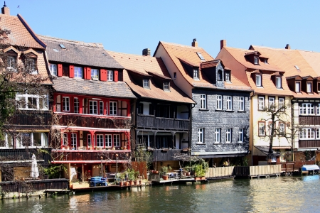 middle ages boat:  Little Venice  - the former fishermens houses in Bamberg Stock Photo