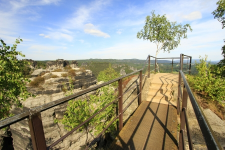 Viewpoint in the Elbe Sandstone Mountains, Saxony, Germany photo