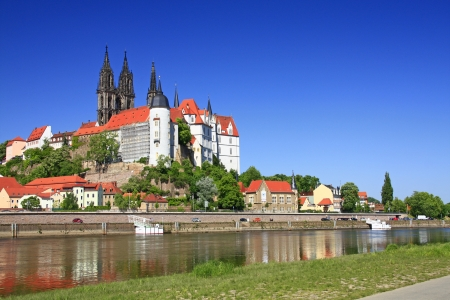 View over the Elbe at Meissen, the castle and the towers of the cathedral