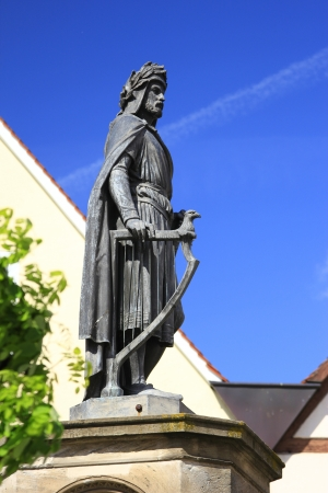 hometown: the monument from 1860 for the poet Wolfram von Eschenbach, writer of the  Parzival , in his hometown of Wolframs-Eschenbach, Bavaria, Germany Stock Photo