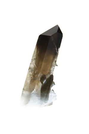 Smoky quartz crystal, isolated against a white background Stock Photo - 14163314
