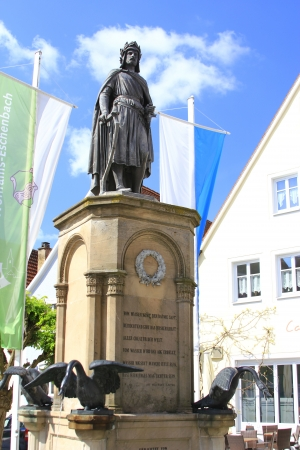 hometown: the monument from 1860 for the minnesinger and author of  Percival   Parzival   Wolfram von Eschenbach in his hometown of Wolframs-Eschenbach, Bavaria, Germany