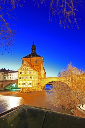 balthasar: The Old Town Hall of Bamberg, Bavaria, Germany inmidst the river Regnitz at night
