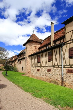 The medieval city walls of Riquewihr  German  Reichenweier  in Alsace, France Stock Photo - 15054214