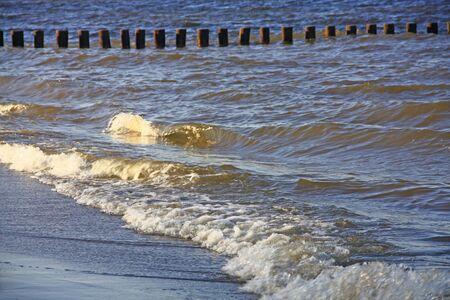 groynes: Waves and groynes on the beach, Baltic Sea, Germany
