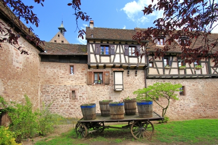 The medieval city walls of Riquewihr  German  Reichenweier  in Alsace, France