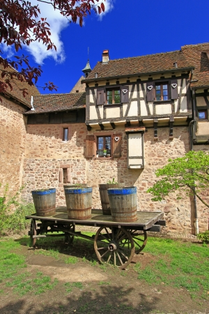 The medieval city walls of Riquewihr  German  Reichenweier  in Alsace, France