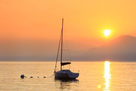 Sunset on Lake Garda, Italy photo