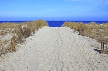 Way to the beach, Island of Usedom, Baltic Sea, Germany Stock Photo