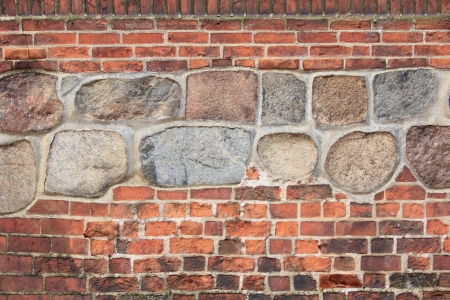 walled: decorative old brick wall with walled boulders