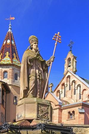 ix: Monument to Pope Leo IX in Eguisheim, born on 21 June 1002 as Bruno of Egisheim-Dagsburg, Alsace, France