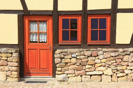 Door in a half-timbered house in Alsace, France Stock Photo - 17448770