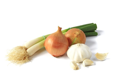 Spring onion, onion and garlic Stock Photo
