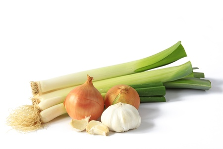 leeks: Different types of onions such as leeks, spring onion, onion and garlic