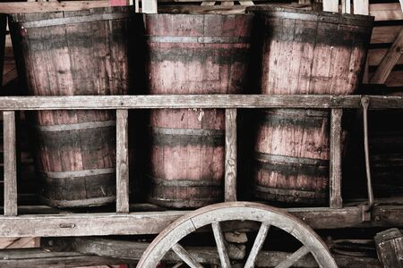 vats: Old wooden vats for transport of the grapes at harvest, Alsace, France Stock Photo