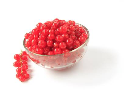 ribes: Freshly picked red currants  Ribes rubrum  in a glass bowl Stock Photo