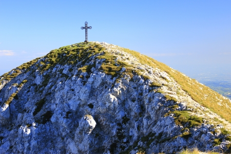 Summit cross at the Punta Telegrafo  2200m , Monte Baldo, Italy photo