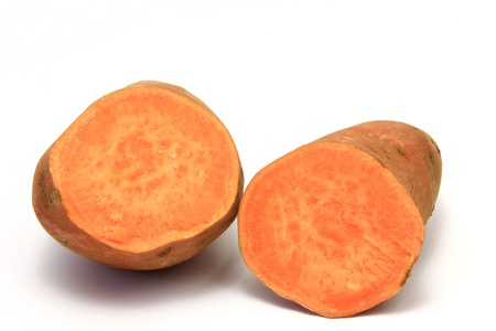 Sweet potato or batata  Ipomoea batatas  isolated in front of white background