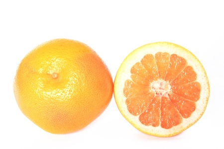 Halved Grapefruit isolated on white background  Citrus x aurantium  Citrus paradisi  Stock Photo - 18850593