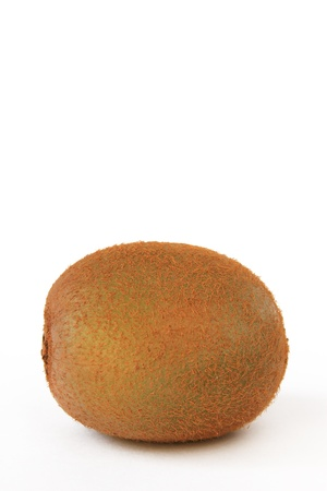 actinidia deliciosa: One Kiwifruit  Actinidia deliciosa  isolated in front of white background